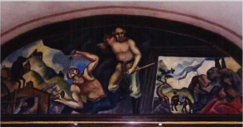City Auditorium Mural of Rock Miners