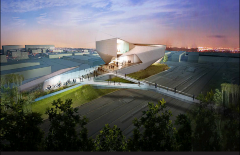 an image rendering of the new Olympic museum and hall of fame