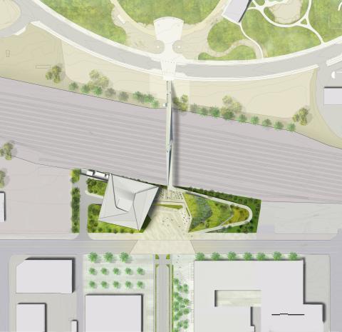 rendering of pedestrian bridge