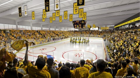 artist rendering of indoor events center during hockey game