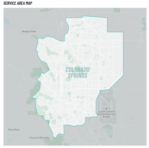map of e-scooter coverage area including downtown, westside and central Colorado Springs