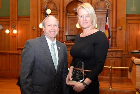 Dr. Rebecca Decker and Mayor Suthers