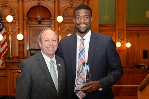 Terrell Brown and Mayor Suthers
