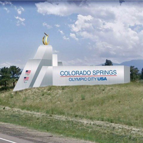 rendering of Olympic City USA themed sign along I-25