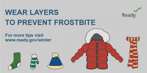 graphic showing layers for cold weather: socks, mittens, hat, coat, scarf
