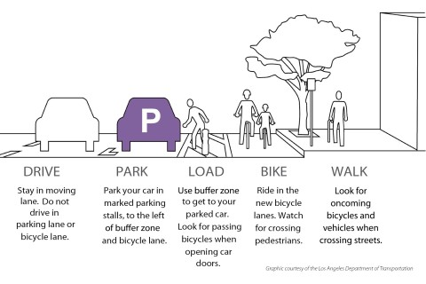 Parking protected bike lane graphic