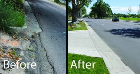 before crumbling curb and cracked street. After new curb and smooth street.