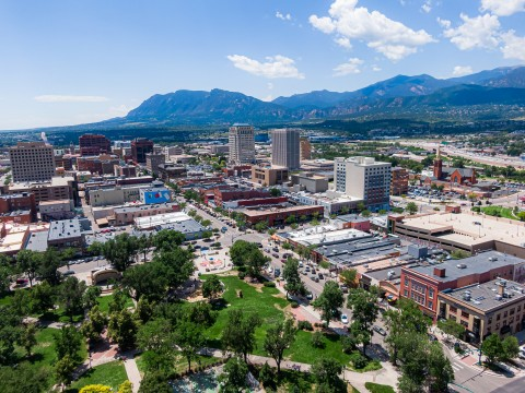 downtown colorado springs and mountains
