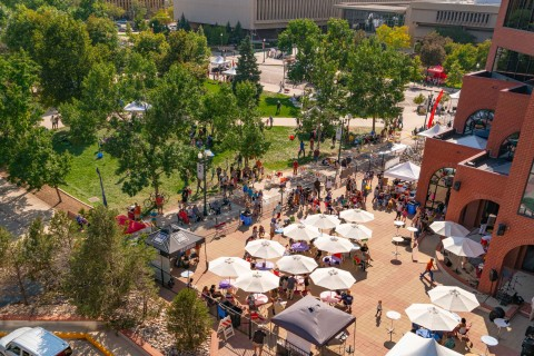 aerial view of what if festival in downtown colorado springs