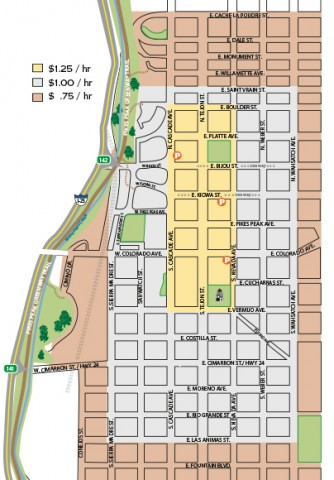 map showing parking rates. downtown (borders cascade ave west, boulder st north, nevada ave east, vermijo south) $1.25 per hour. Parking is $1 per hour from Saint verain north, wahsatch east, las animas south, and sierra madre west. Beyond is 75 cents/hr