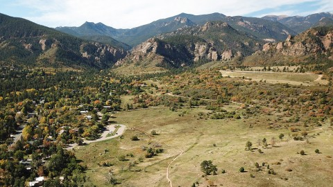 Aerial view of trail running through Stratton Open space
