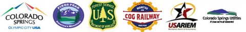 partner logos for Colorado Springs, Pikes Peak, Forest Service, Utilities, COG railway