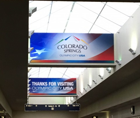 Terminal signs at the Colorado Springs Airport