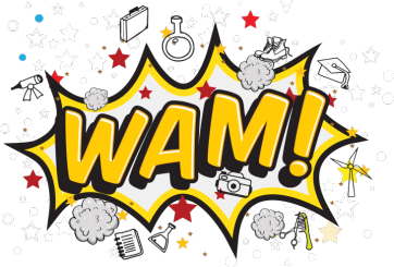 logo that says: WAM!