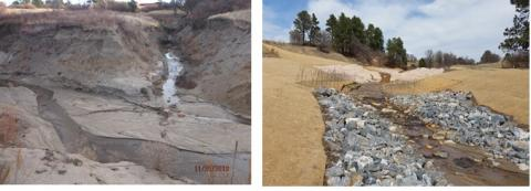 Before and after photo of creek construction
