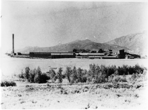 black and white historic photo of a large mill in the distance. Mountains in the background. small shrubs and plains in the foreground
