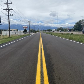 double yellow center line on newly paved road