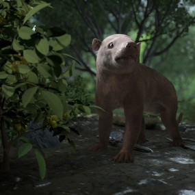 rendering of a now extinct mammal