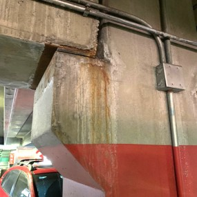water damage from leak in parking structure