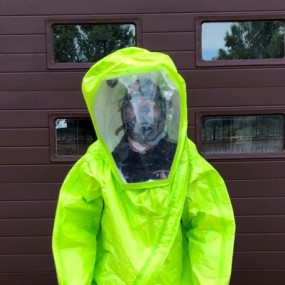 Level A hazmat neon green full body and head coverings