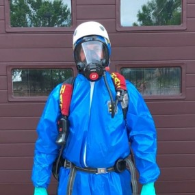 Level B HazMat full body blue suit, breathing apparatus and gloves