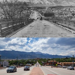 historic photo next to current day version Bijou bridge looking toward pikes peak