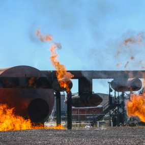 large, controlled fire simulating disaster