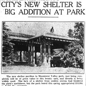 newspaper clipping showing photo for pavilion under construction.