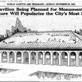 """newspaper clipping of pavilion drawing. """"New shelter pavilion being planned for monument valley; structure will popularize the city's most beautiful park."""""""