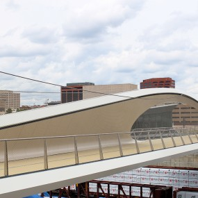 Looking at the bridge from a platform to the right of the bridge. You can see the graceful curve of the interlocking loops.