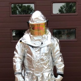 proximity suit is a silver full-body and head suit