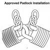 graphic showing approved padlock installation. Two padlocks each linked to one chain. Padlocks then locked to each other.