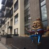 humpty dumpty art outside of downtown apartment complex