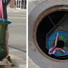 """photo collage. photo on left shows """"gutter bin"""" it's about the size of a 33 gallon trash bag and is made of porous material. photo on the right is looking down into the storm drain. you can see the top of the gutter bag and where water flows into it."""