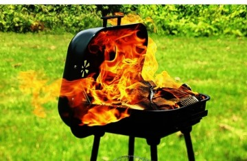 BBQ grill in flames