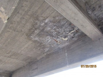 Deterioration under the bridge deck