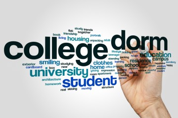 Word cloud with words including college, form, university, student, housing