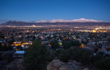 Evening View of Pikes Peak and Downtown Colorado Springs