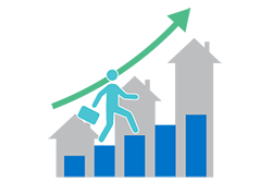 economic indicator icon showing man stepping up a bar graph. houses increasing in size are in the background. An arrow swoops up.