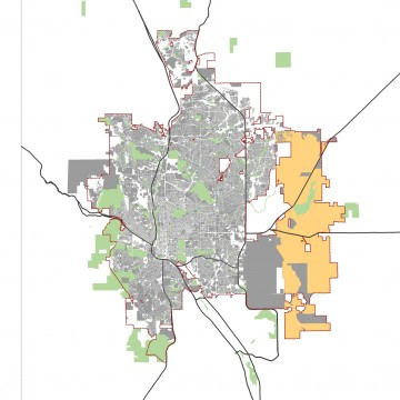 Map of Colorado Springs showing growth areas