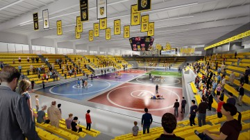 artist rendering of indoor events center during wrestling match