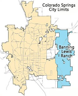 Map snapshot showing city limits and Banning Lewis Ranch
