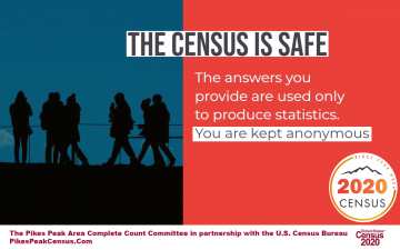 The Census is safe. The answers your provide are used only to produce statistics. You are kept anonymous. Pikes Peak Area Census logo. US Census bureau logo