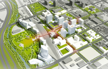 Rendering of possible future developments in the Southwest Downtown Urban Renewal Area