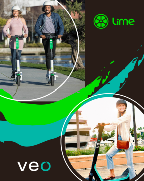 People on e-scooters with the Lime and Veo logos
