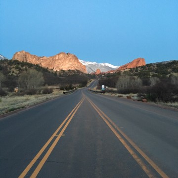 Empty road at Garden of the Gods