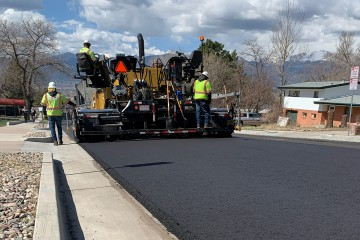 New pavement and stream roller