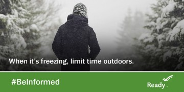 "graphic says ""limit time outdoors when its freezing"""