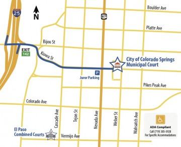 map showing path from I-25 to 224 E. Kiowa Atreet