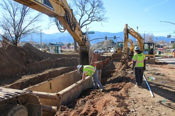installation of the sanitary sewer drainage system